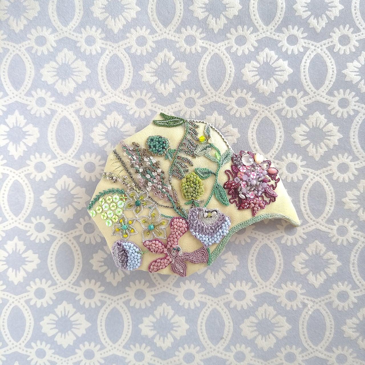 夏の花束ブローチ&ヘッドドレス