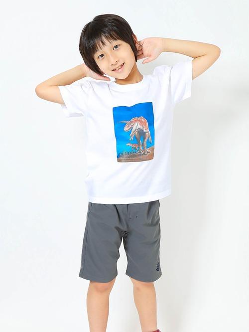 フクイラプトル復元画プリントTシャツ子供用 ホワイト【KT-FR】
