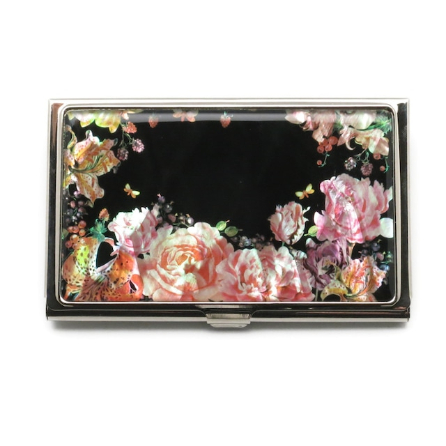 天然貝 名刺カードケース(薔薇と果実に誘われて)シェル・螺鈿アート