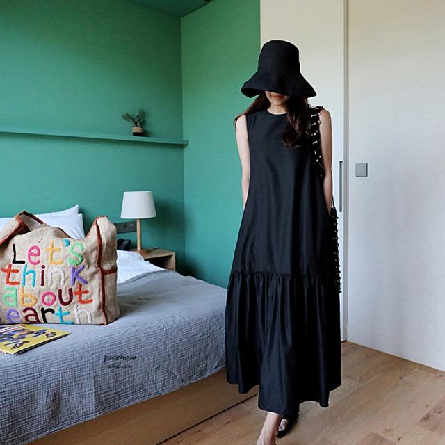 タンクトップスカート黒の袖なしワンピース 【200633】