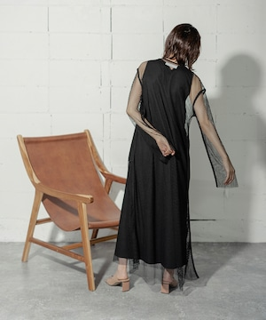 MESH LONG DRESS 2P (BLACK)