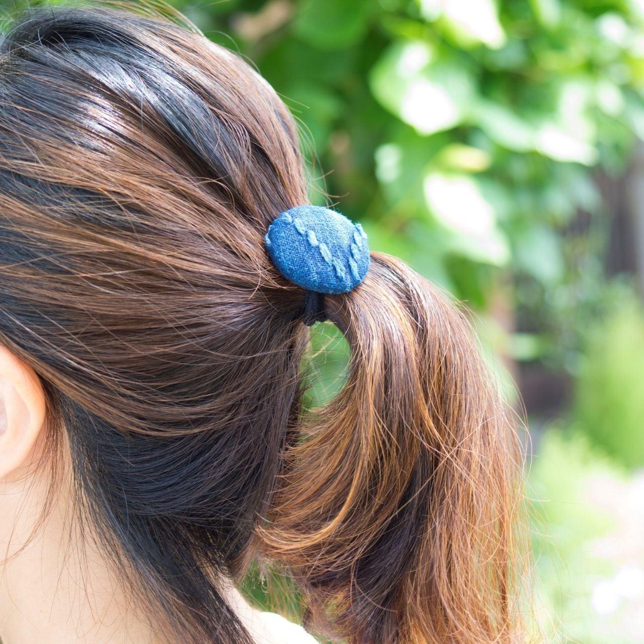 うしじま縫製   武州正藍染 ヘアゴム 二重刺子