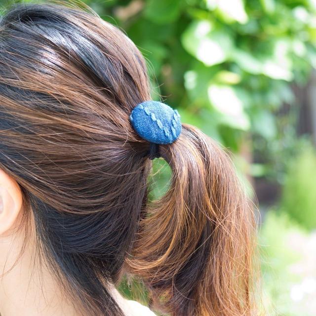 うしじま縫製 | 武州正藍染 ヘアゴム 二重刺子