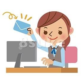 イラスト素材:パソコンでメールを受け取るOL・事務職の女性(ベクター・JPG)