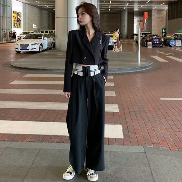 【セット】「単品注文」韓国系長袖折り襟ショート丈アウター+カジュアルパンツ34571792