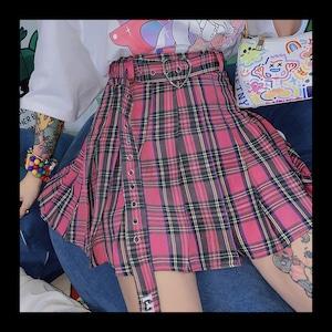【お取り寄せ】ハートリング ピンクチェック スカート