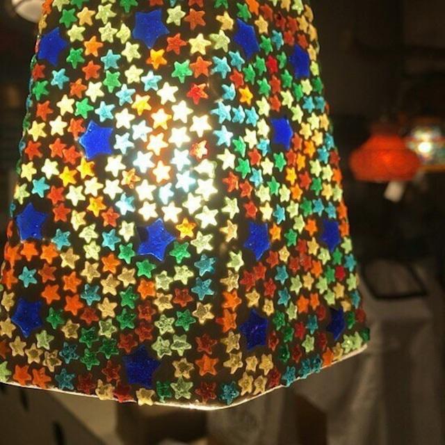六角モザイクガラスランプ カラフルスター