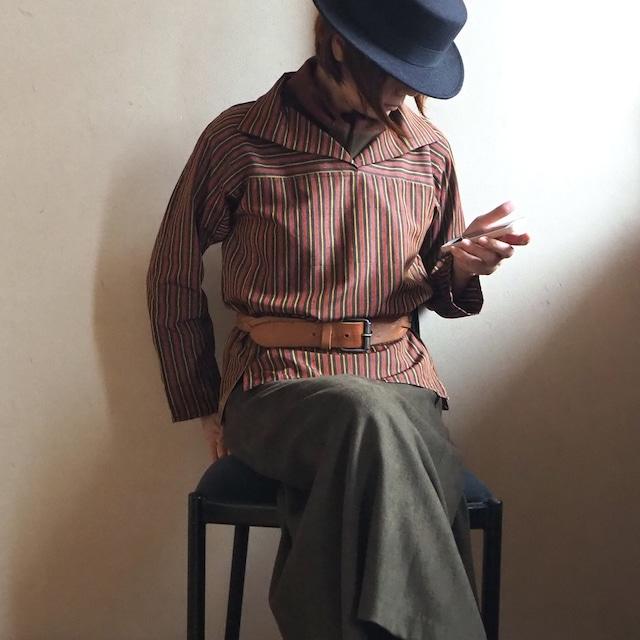 柿色ストライプの襟付きかぶりブラウス-紬着物(絹・古布)から