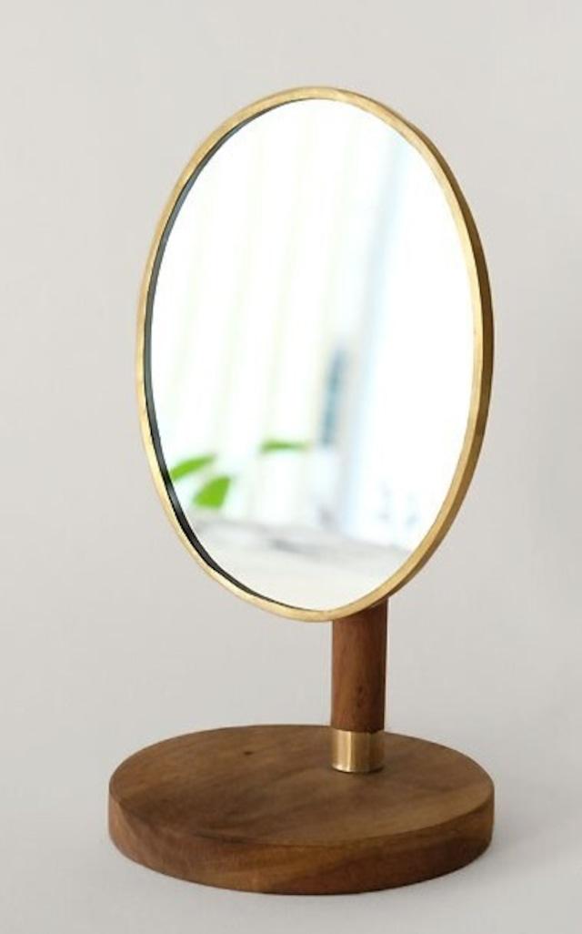 スタンドミラー オーバル型 真鍮+木製 角度調節可 SI-303553