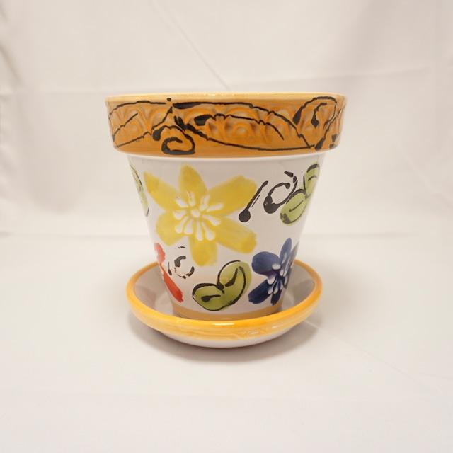 【スペイン陶器】4号プランター(花)