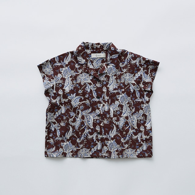 Last one 110!LfinFolk Leaf paisley open collar shirts (burgundy) 110 120 130  elf-211F25 ※メール便1点までOK
