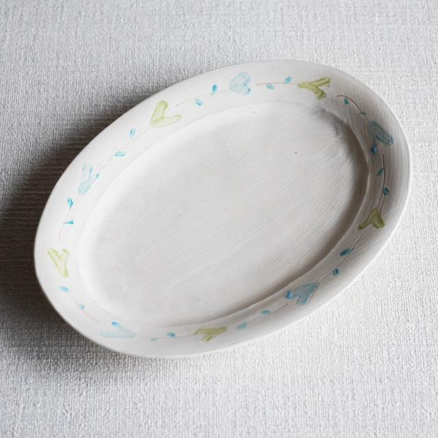 色絵花文オーバル皿 White