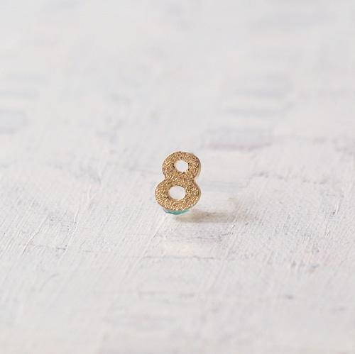 数字 シングルピアス  SV925 Numéro 8 ゴールドコーティング