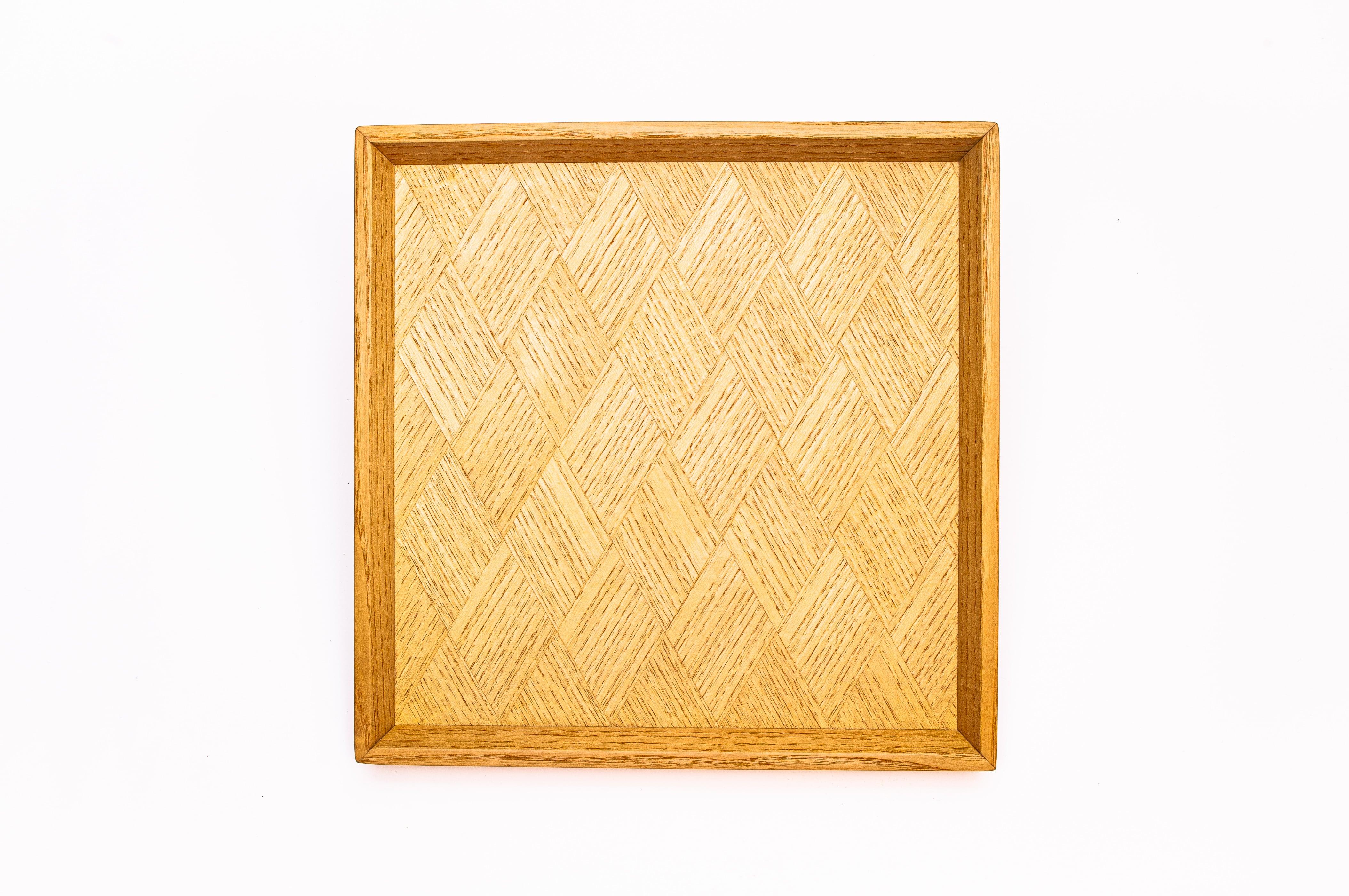 ホワイトアッシュ菱形模様 正方形のトレー 0323