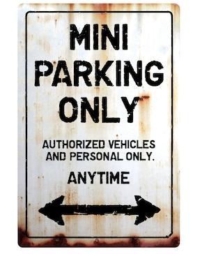 【送料無料】MINI Parking Onlyサインボード パーキングオンリー ヴィンテージ風 サインプレート ミニ ミニクーパー ミニクラシック  ガレージサイン アメリカ雑貨 アメリカン雑貨 壁飾り ウォールデコレーション 壁面装飾 おしゃれ インテリア 雑貨