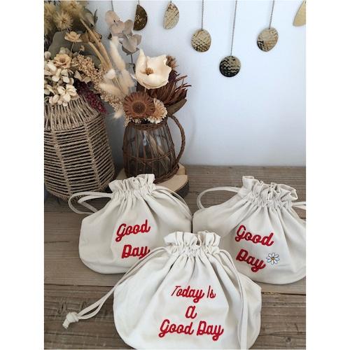 good day bag ホワイトxレッド刺繍 121