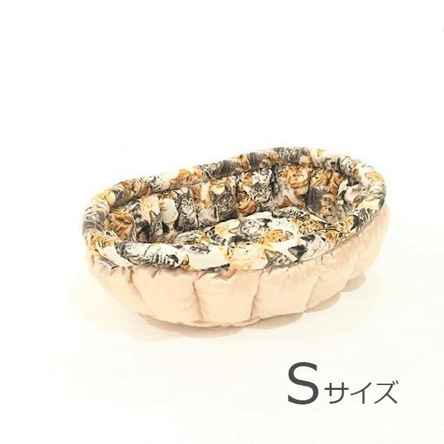 ふーじこちゃんママ手作り ぽんぽんベッド (サテンシャンパン) Sサイズ 【PB19-065S】