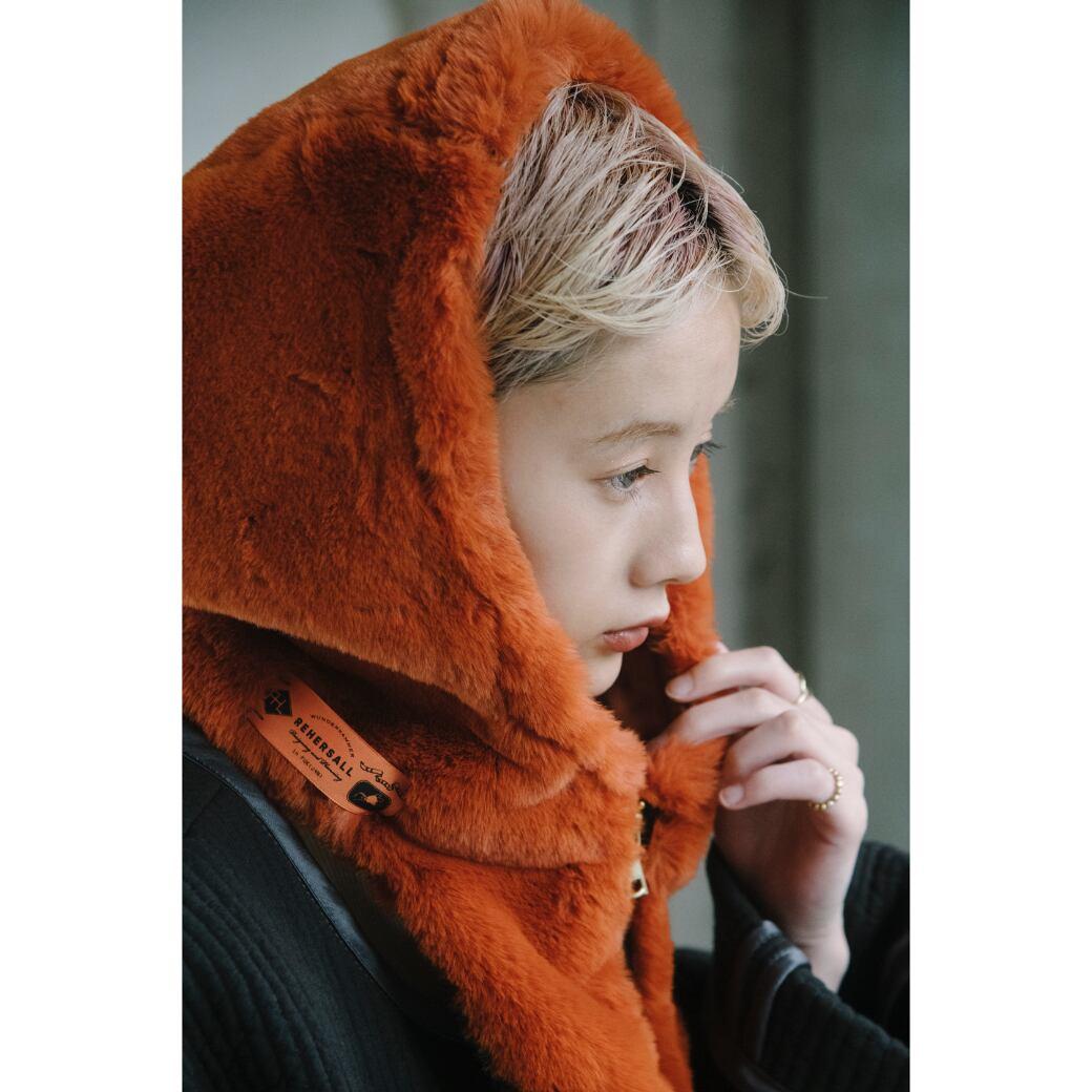 【RehersalL】ECO Fur hood neck warmer (orange) /【リハーズオール】エコファーフードネックウォーマー(オレンジ)