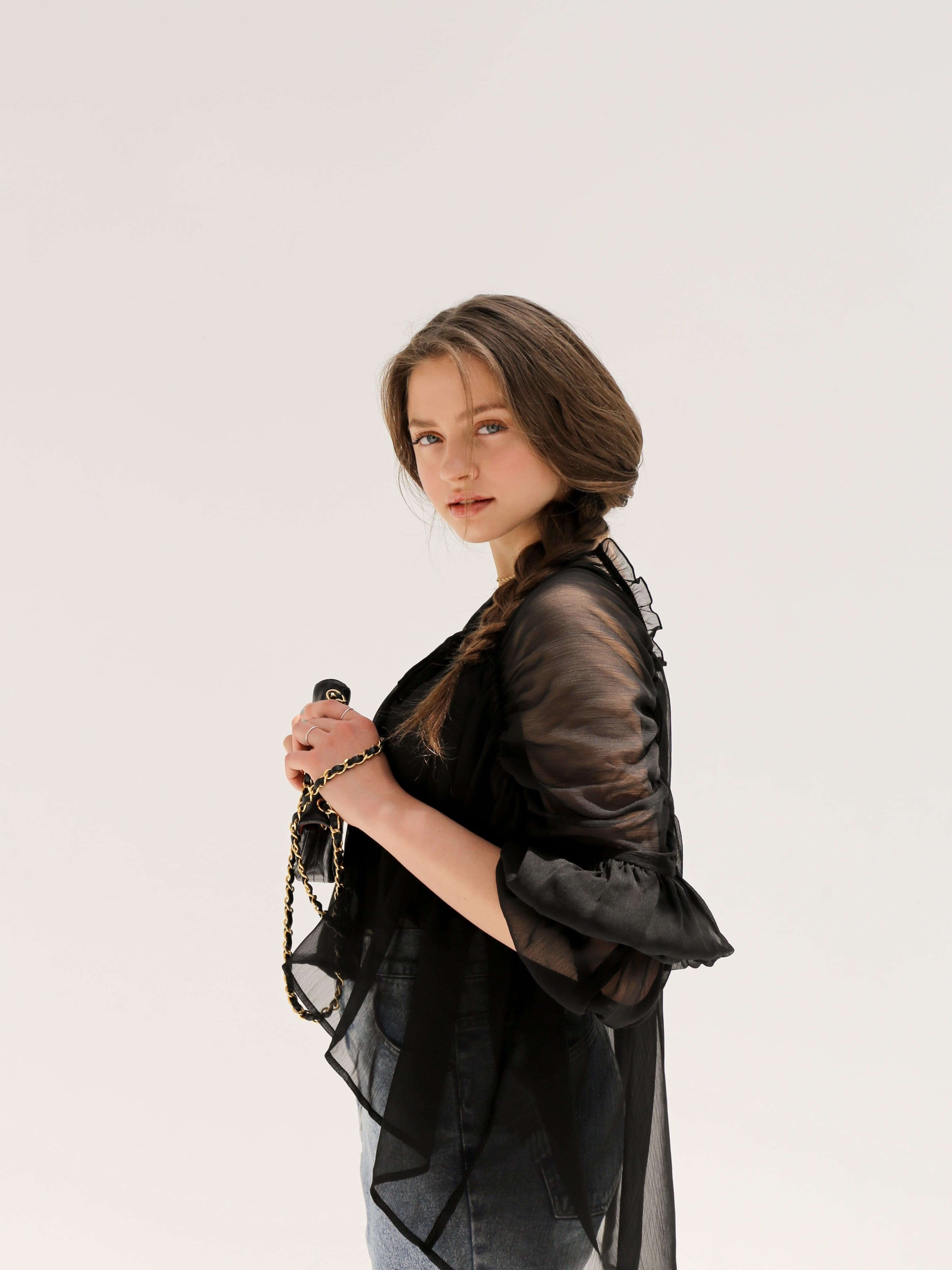 triple shirring blouse set(black)