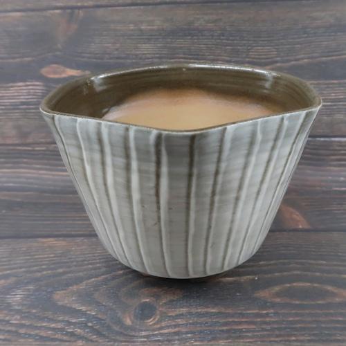 小石原焼 植木鉢 六角形 刷毛目 上鶴窯