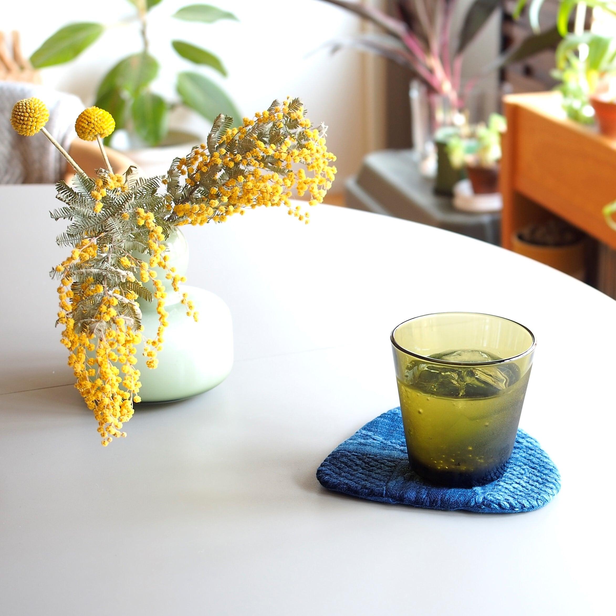 うしじま縫製 | 武州正藍染 三角コースター 二重刺子
