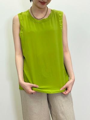 Vintage Matcha Green Silk Sleeveless Top