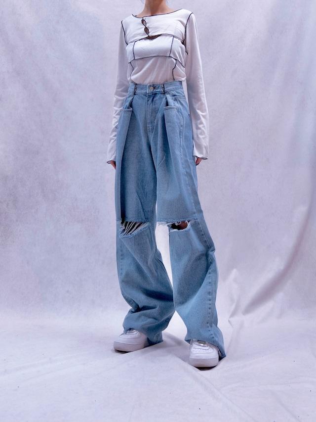 【UNISEX - 1 size】HOCKED WIDE DENIM / 2colors
