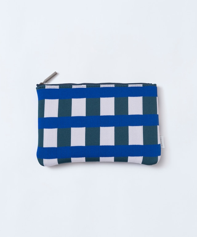 【TRICOTÉ】 BLOCK CHECK POUCH size M:ブルーチェック
