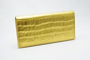 長財布(薄型)金箔・クロコダイル柄・プレミアム