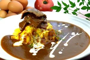 【卵's工房】オムライス 牛スネ肉のカレーオムライス