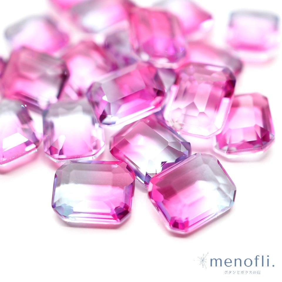 1pc 長方形 グラデーション ピンク・水色 10*8 チャイナガラス ラインストーン グラスストーン