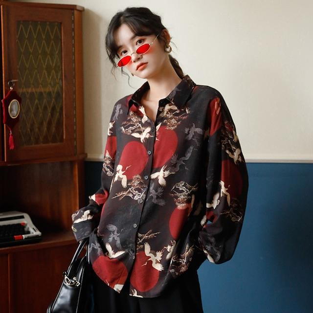 ✿大人気発売中✿チャイナ風シャツ トップス 鶴 ゆったり レトロ 鶴模様 合わせやすい S M L 男女兼用 カップル服