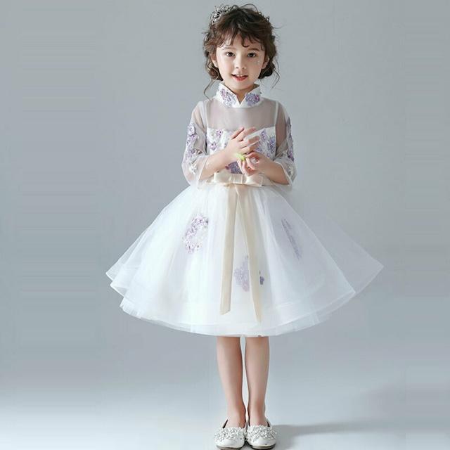 子供ドレス スタンドネック 刺繍 ビーズ 花童 発表会 ホワイト 110cm 120cm 130cm 140cm 150cm 160cm