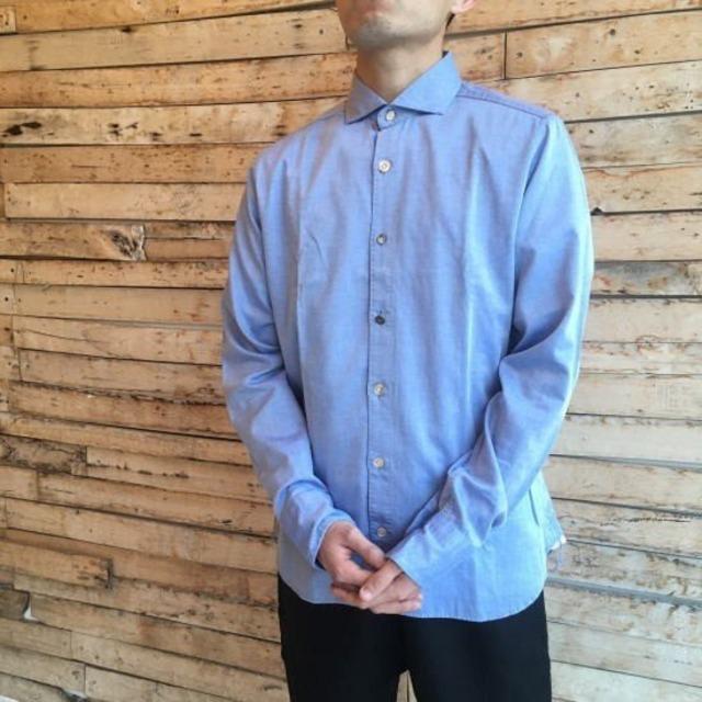 DNL Italy ミックスボタンスリムシャツ ブルー