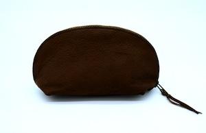 Yezo deer soft pouch tanned dark brown