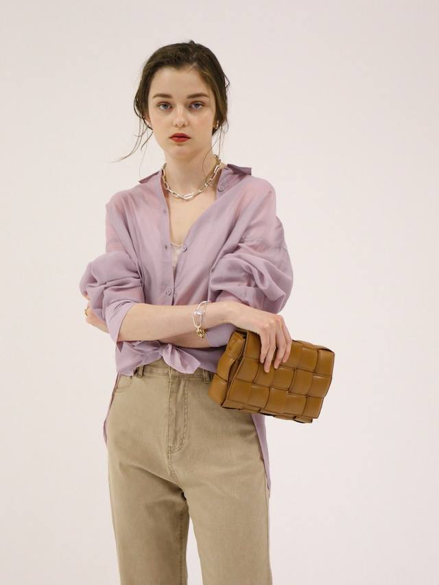 oversize sheer shirt(lavender)