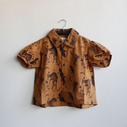 《michirico 2021SS》Flora and fauna shirt / camel / L・XL・XXL