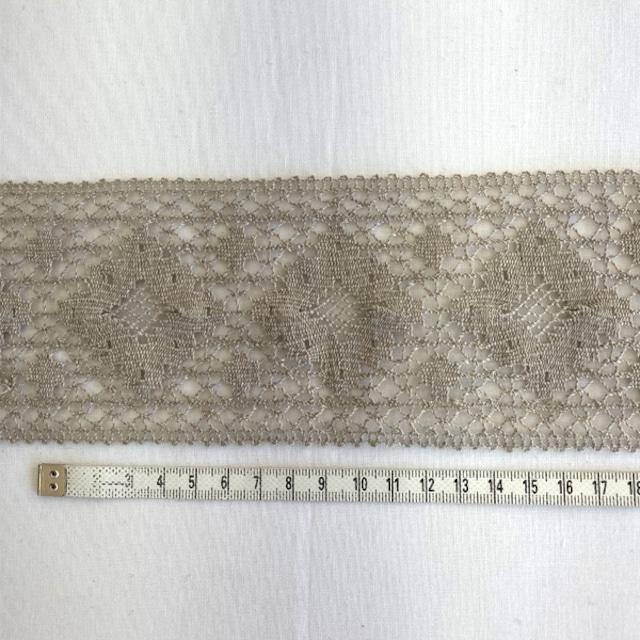 リトアニア製リネン トーションレース  麻トーションレース  縁取り 装飾 10cm単位 ハンドメイド 85mm幅 ベージュ