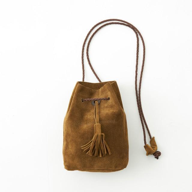 SUEDE SHOULDER BAG - BROWN