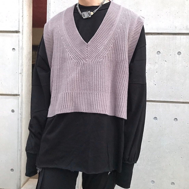 【UNISEX - 1 size】CROPPED KNIT TOPS / Grey