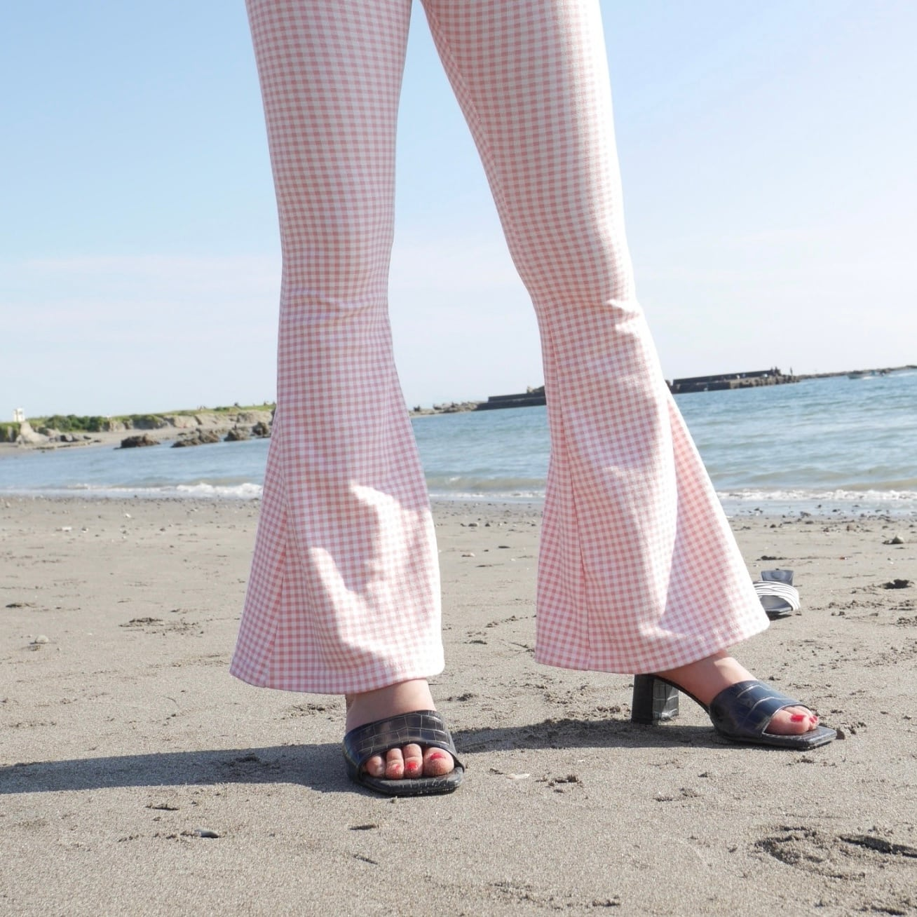 【Belle】LAST3 gingham check flare pants / pink