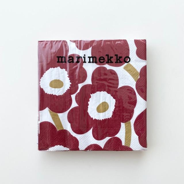 2021秋冬【marimekko】ランチサイズ ペーパーナプキン UNIKKO ダークレッドxゴールド 20枚入り