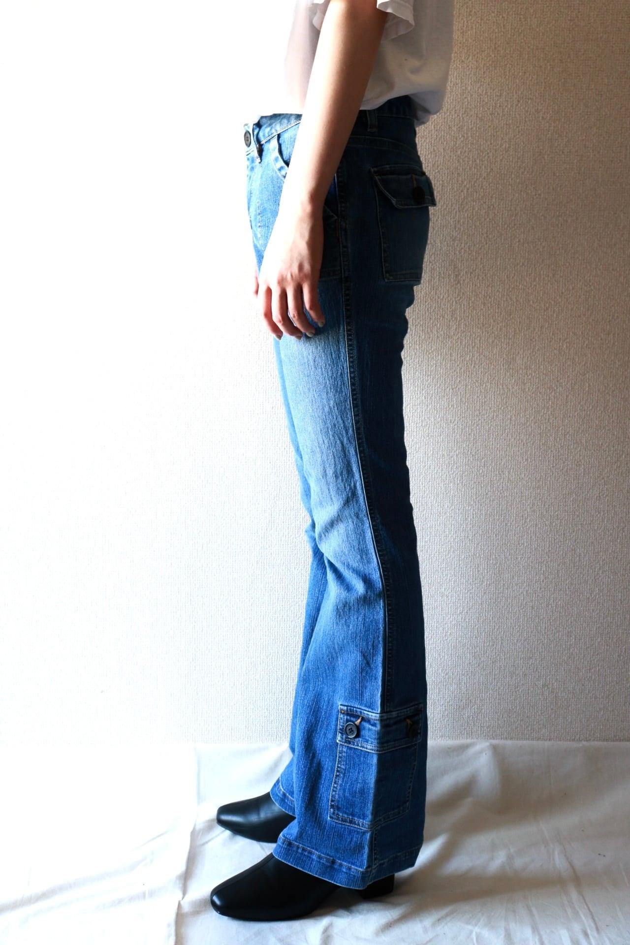Vintage pocket design flare denim pants