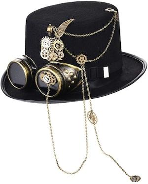 スチームパンク帽子 メンズ レディース ハロウィン用品 コスプレ仮装 小道具 男女兼用 中折れ帽 ハット5626