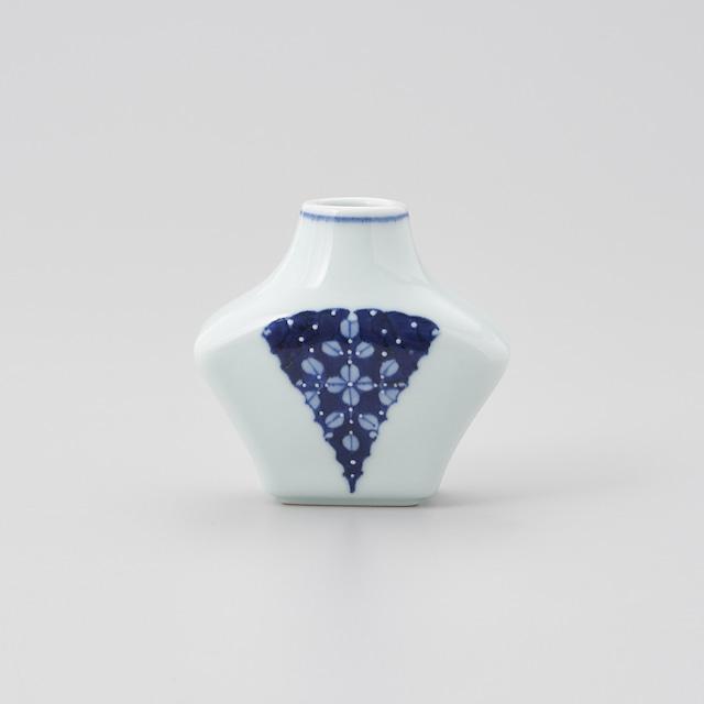 【青花 匠】染付一珍扇状萩絵 扁壷花瓶[小]