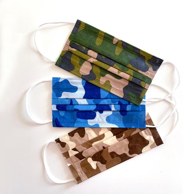 迷彩柄不織布3層ファッションマスク(各色×3枚計9枚入) (L20089-056)