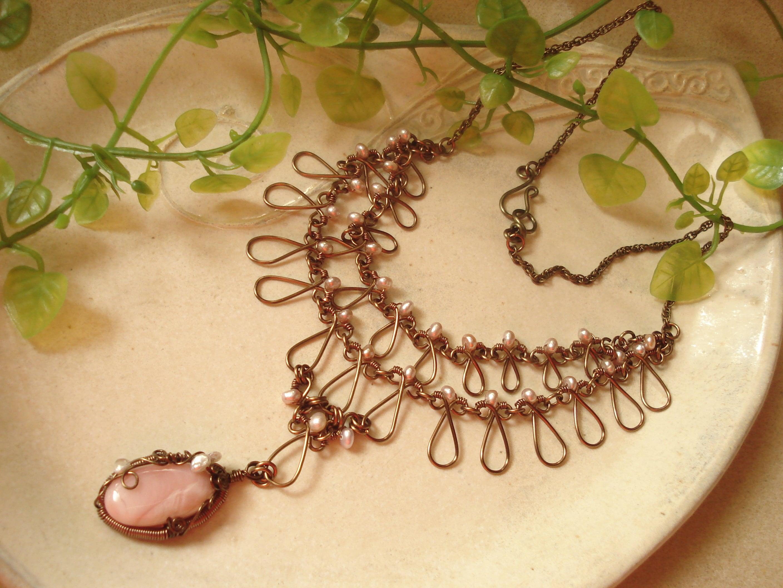 ピンクオパール2連ネックレス