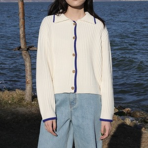 Polo collar short cardigan(ポロカラーショートカーディガン)b-049