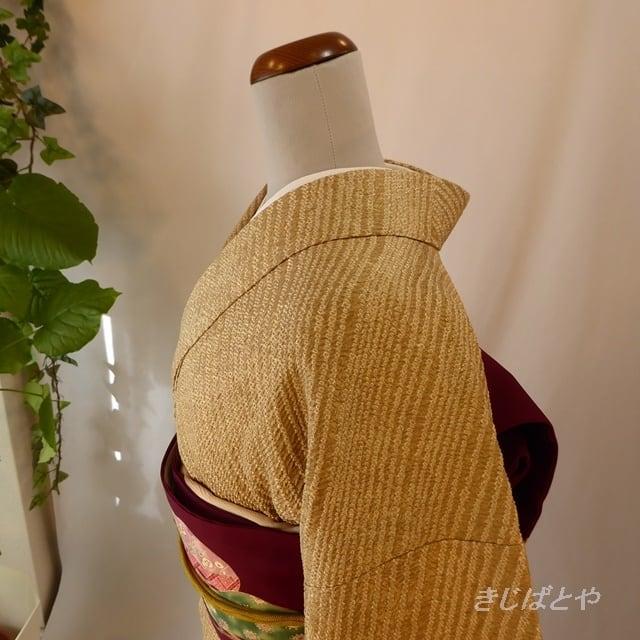 正絹綸子 麦藁色に総絞りの小紋 袷