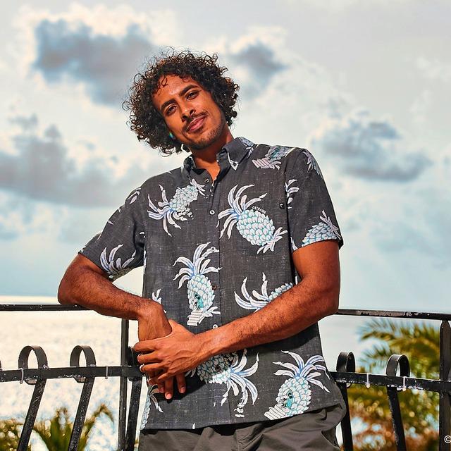 PAIKAJI アロハシャツ ネイビー「Men's Short-Sleeve Shirt Pineapple Mickey」